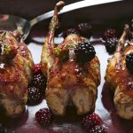 Roast partridge with blackberry sauce and colcannon